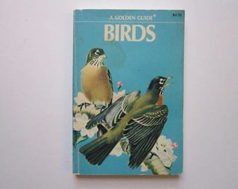 antique pocket sized BIRD book - a Golden Guide - full color - circa 1956 - nature, hike, camp