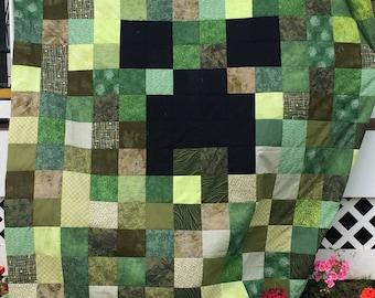 Green Quilt, Video Game Quilt, Boy Quilt