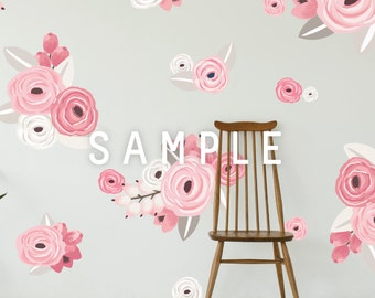 SAMPLE ** Graphic Flower Clusters in Pinks and White