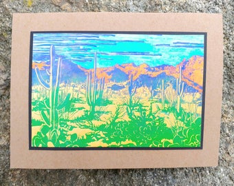 5 Sonoran Desert Notecards on Brown, Purple, Turquoise, or Yellow