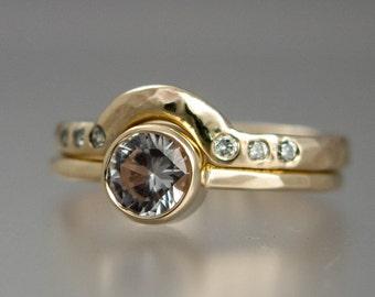 White Sapphire Engagement and Contour Diamond Wedding Band Set - half carat diamond alternative in 14k yellow, white or rose gold