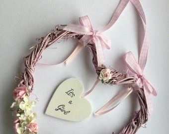 New born baby girl , baby shower keepsake hanging heart gift