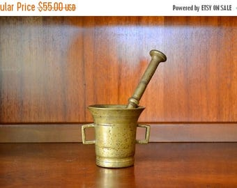 SALE 25% OFF vintage cast bronze apothocary pestle and mortar
