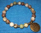 Reserved - Rainbow Rhyolite Gemstone Beaded Bracelet - Stretch Bracelet - Never Never Give Up Charm