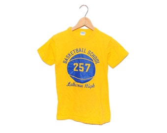 Vintage 70's Blue Bar Champion Basketball School 257 Lutheran Hight Bright Yellow Crewneck T-Shirt Made in USA - Youth Large (OS-TS-19)