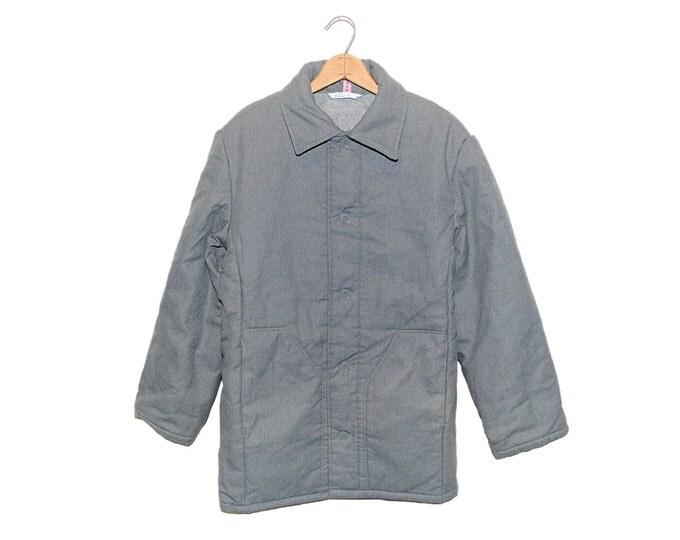 Vintage European Slate Grey Padded Cotton Button Up Chore Coat - Large 46 (OS-EWJ-10)
