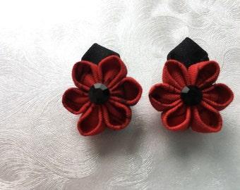 Flame Drops Miniature Kanzashi Flower Snap Clip Pair