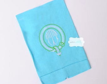 Turquoise Aqua Linen Hemstitched Guest Towel with Monogram