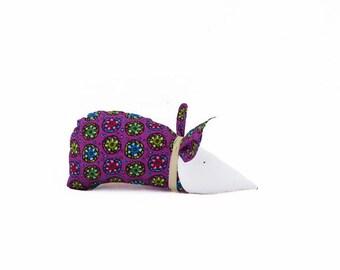 Bohemian decoration, ethnic, sachet of organic lavender in bright colors, gypsy, fabric Odile Bailleul, purple, deco boho, mouse