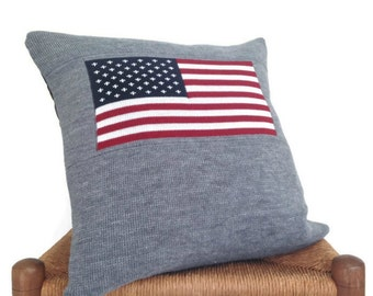 Americana Knit Pillow Cover Gray Up Cycled Sweater Patriotic Theme Knitted American Flag 20 Inch Cover Sweater Pillow