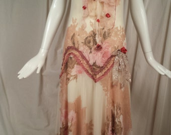 Slip Dress Flapper Style Ruby Rose Art to Wear Pastel Garden Inspired Feminine dress