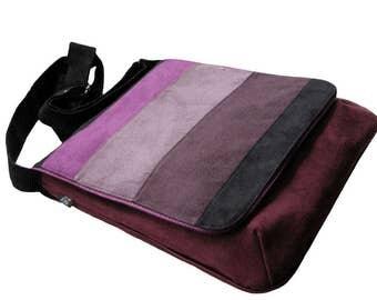 Multicolor Striped Bag with Flap, OOAK Messenger Bag, Eco Suede Vegan Bag, Flap Cover Bag, Adjustable Strap, Plum Crossbody Bag, For a Bike