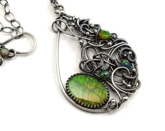 Wire wrapped necklace, ammolite necklace, ooak jewelry, green statement pendant