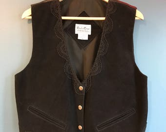 Rodeo Rose Black Leather and Lace Western Vest M/L