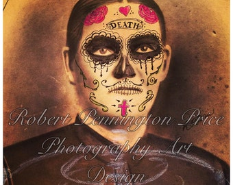 Day of the Dead / Sugar Skull Lady / Altered Art Original Painting / Mixed Media Painting / Victorian Death Mask  / Robert Price