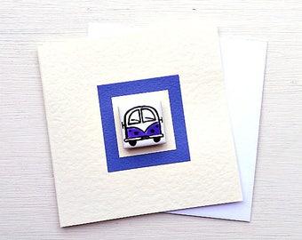 Campervan Card Purple, Combi, VW, Birthday Card, Greeting Card, Blank Card, Magnet Card, Childrens Card