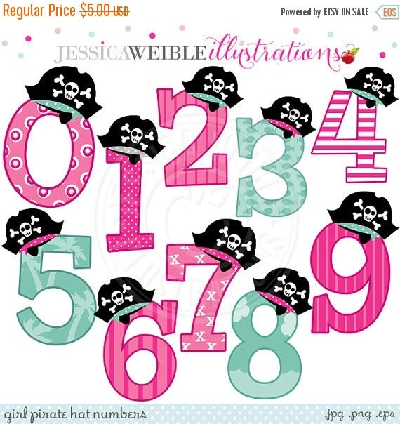 ON SALE Girl Pirate Hat Numbers Cute Digital Clipart - Commercial Use OK - Pirate Clipart, Pirate Birthday Number