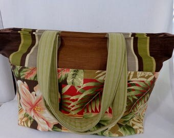 Large Beach BAG, Extra Large Tote, Zippered Diaper BAG, Knitting BAG, Work Purse, Weekend Bag