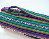 NEW XL Yoga Bag - Exercise mat bag - purple green blue striped with Large closeable pocket