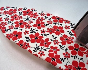 Ironing Board Cover TABLE TOP - red abstract poppies on taupe