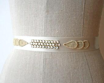 Art Deco Sash, Bridal Sash, Thin Ivory Sash