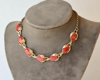 Red Orange Thermoset Necklace 1960s Retro Jewelry