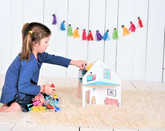 Collapsible Wooden Dollhouse - Only 3 Pieces - Doll House - Design It Your Self Stickers - Dollhouse On The Go