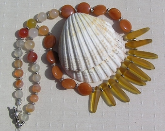 Crystal Gemstone Statement Fan Necklace, Aventurine, Carnelian & Amber Sea Glass, Chakra Necklace, Tribal Necklace, Beach Necklace