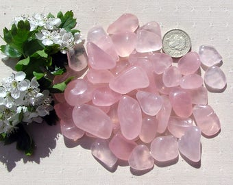 10 Pink Girasol Crystal Tumblestones, Chakra Crystals, Crystal Collection, Pink Crystals, Meditation Stone, Worry Stone, Scrying Crystal