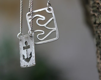 Wave & Anchor Sorte Necklace
