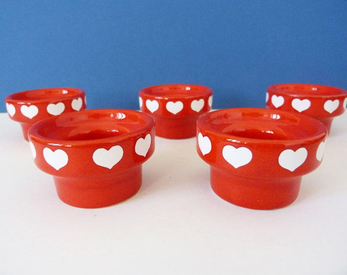 waechtersbach egg cups red with hearts
