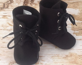 Black Baby Boots | Biker Baby | Newborn size up to 3T | FREE Shipping in the US
