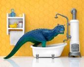 Dinosaur kids bathroom art print: Scrub