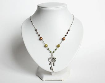Beaded Silver Rose Necklace (Last One)