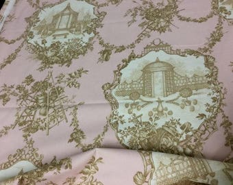 "56"" Wide Braemore Gazebo Cotton Toile Home Decorator Fabric French Country Upholstery Drapery Pink Cream Brown Village Farm Made in USA"