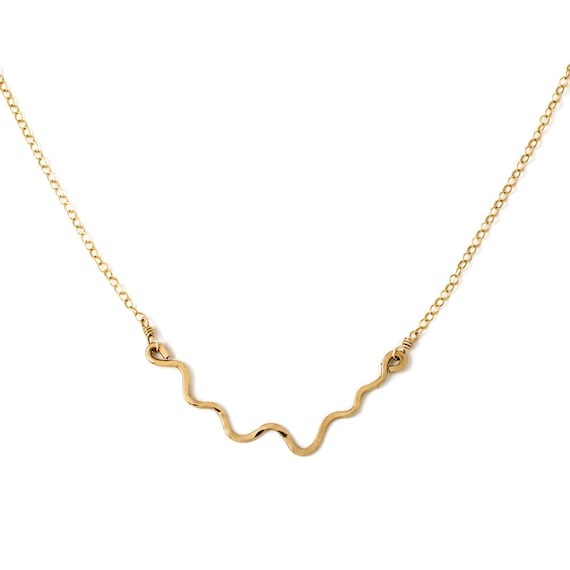 I'm Hammered Gold Necklace - 14K Gold Filled Handmade Wavy Hammered Pendant on Gold Filled Chain / Hammered Bar Necklace / Wavy Gold Bar