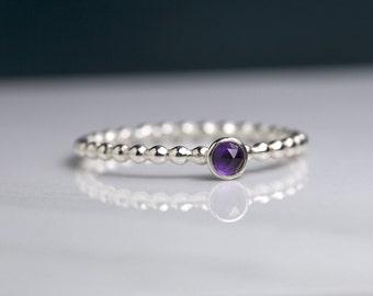 Dainty amethyst ring, February birthstone ring silver stacking ring, gemstone ring stacking - Juliet