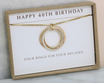 40th birthday gift, 4 interlocking rings necklace, family of 4 jewelry - Lilia