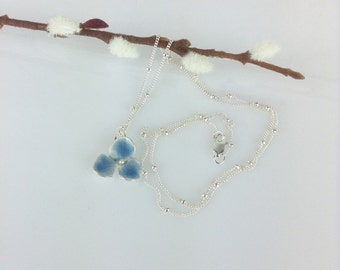Blue hydrangea necklace - silver