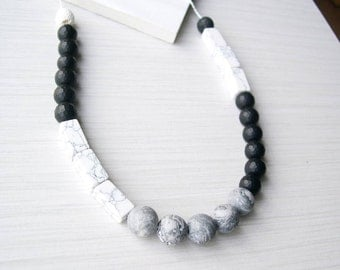 Black Onyx Necklace, Grey Stone Jewelry, White, Jasper, Lava, Color Block, Colorblock, Mixed, Long, Marble Look, Semiprecious