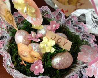 Cute Pink Spring Decorated Peat Pot Basket with Eggs, Chicks, and Joy
