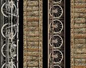 Railway Stripe from Railway Express line for Benartex - Full or Half Yard Steam Engine Wheels and Train Tracks on Black