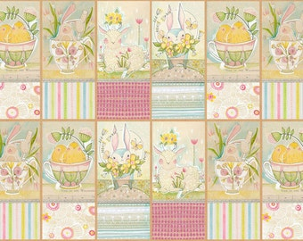 "Promise of Spring from Blend Fabrics - 24"" x 44"" Panel Spring Audience Panel - Easter - Bunnies, Chicks, Lambs"