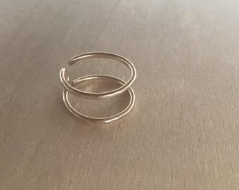 Midi Double Barrel Ring - Handmade Jewelry - Handmade Ring