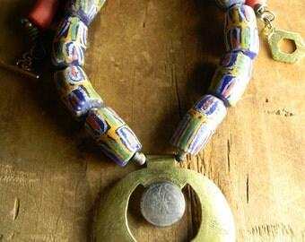 African Tribal Jewelry Tuareg Pendant Necklace Brass Krobo Vintage Trade Bead Ethnic Red Blue