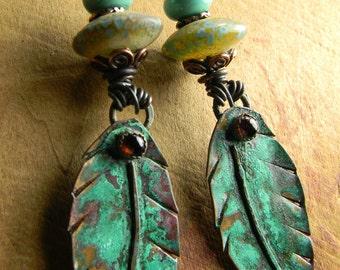 Tribal Jewelry Earrings Artisan Leaf Feather Garnet Green Turquoise Bohemian Lampwork