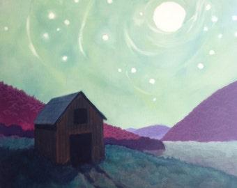Moon Barn, full moon and stars, mountains and river, wall art, country decor, romantic, night sky, original art, rustic farm decor, pastoral