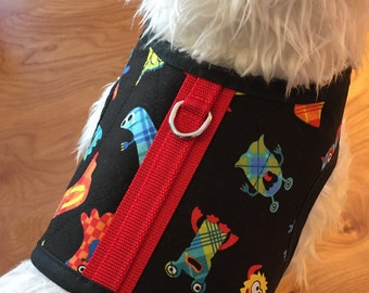 SALE Little Monsters Small Dog Harness, dog harnesses, pet clothing, Made  in USA