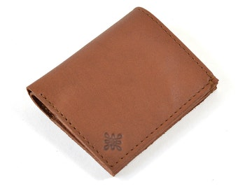 Handmade Brown Leather Bill Fold Wallet For Cards & Notes