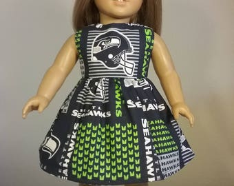 18 inch doll Clothes Handmade Seattle Seahawks Football Print Dress fits American Girl Doll Clothes